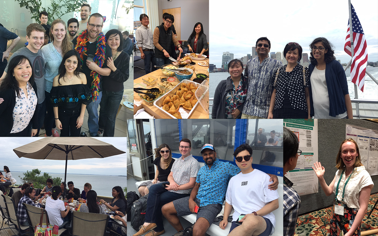 A collage of lab members at various social outings